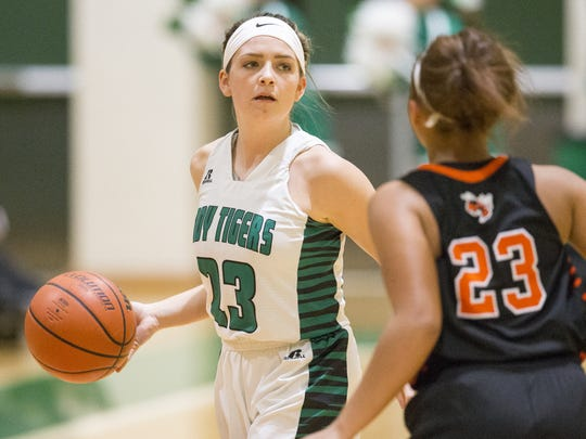 Samantha Felling is among Triton Central's floor leaders. The Tigers are Class 2A's top-ranked team.