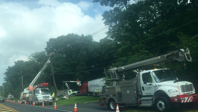 A section of Route 66 shut down Tuesday after a truck hit a pole near Jumping Brook Road and Green Grove.