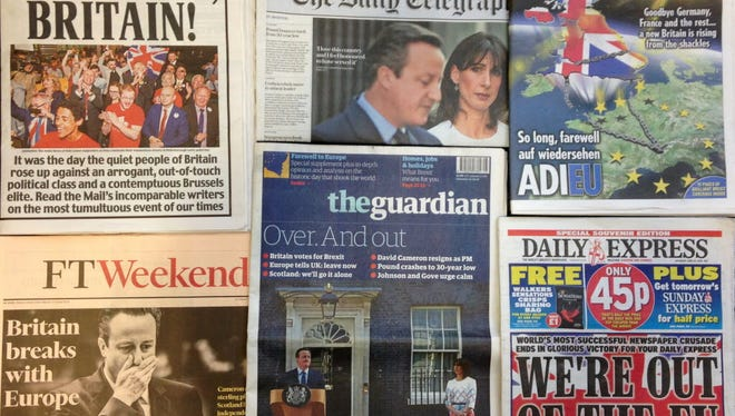 An arrangement of newspapers pictured in London on June 25, the day after Briton voted to leave the European Union.