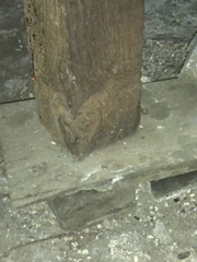 This support beam in Paul Webb's basement is sitting