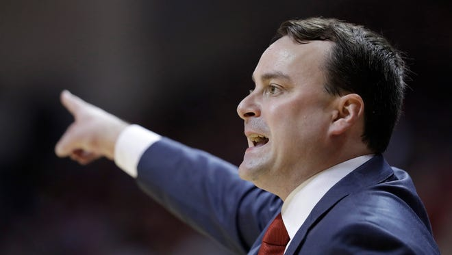 Indiana head coach Archie Miller calls a play during the first half of an NCAA college basketball game against Maryland, Monday, Jan. 22, 2018, in Bloomington, Ind.