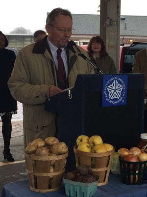 State Agriculture Commissioner Richard A. Ball spoke at the Rochester Public Market Thursday about the important link between New York farming and nutrition.