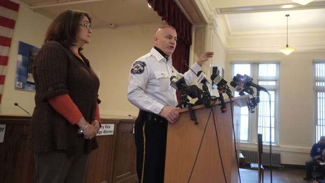 Suffern Mayor Trish Abato and Police Chief Clarke Osborn at town hall press conference Wednesday, April 29, for couple authorities said jumped off the George Washington Bridge after they killed a 70-year-old man Monday.
