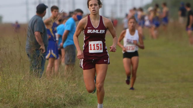 Buhler's Leah Bentley placed second at the Buhler Invitational on Thursday.