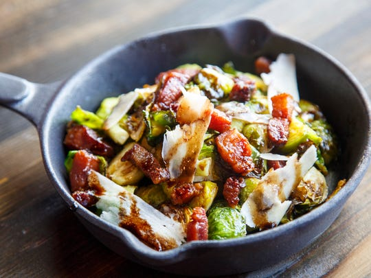 Roasted brussle sprouts with bacon lardon at Barn Town