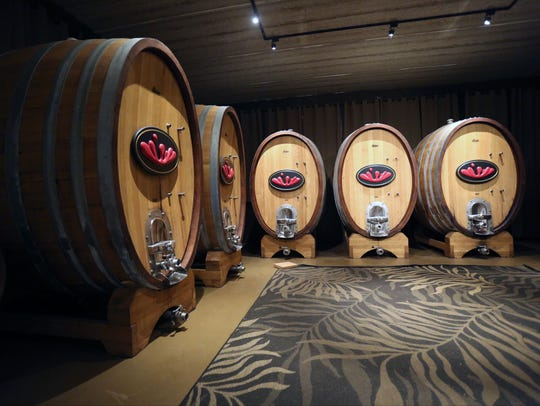 The cask room at the Stoutridge Vineyard in Marlboro,