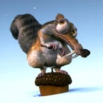 Artwork of the balloons of Scrat and his acorn that will make their debut this year in the Macy's Thanksgiving Day Parade.