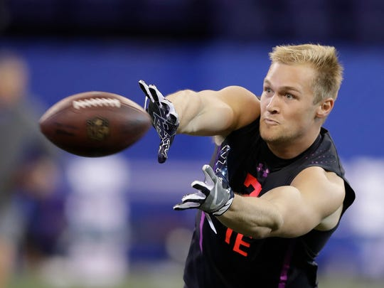 Penn State tight end Mike Gesicki runs a drill during the NFL football scouting combine, Saturday, March 3, 2018, in Indianapolis. (AP Photo/Darron Cummings)