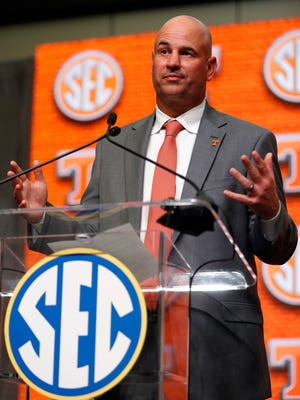 Tennessee coach Jeremy Pruitt speaks at SEC Media Days on Wednesday.