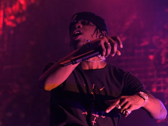 Travis Scott performs on the final night of the Bonnaroo