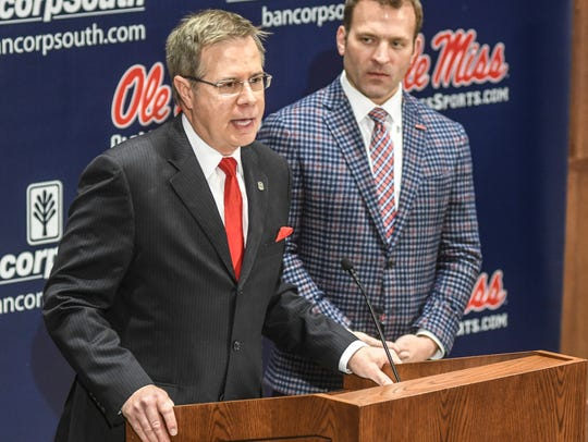 Chancellor Jeff Vitter, left, and Ross Bjork, right, have voiced their displeasure with the NCAA's decision to extend Ole Miss' postseason ban.
