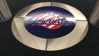The Amerks logo covered up the Sabres in-floor logo in the dressing room