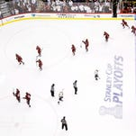 The Coyotes celebrate after winning their series against the Nashville Predators in 2012.