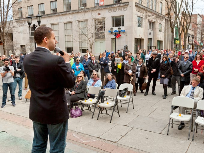 Ithaca Mayor Svante Myrick address the crowd in April