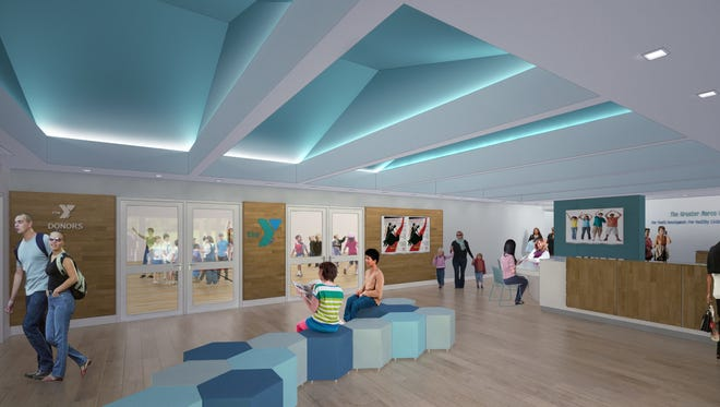 An artist's impression of the design for the spacious new lobby at the Y's headquarters off Sand Hill Road.