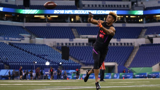 Mar 3, 2018; Indianapolis, IN, USA; Notre Dame Fighting Irish wide receiver Equanimeous St Brown catches a pass during the 2018 NFL Combine at Lucas Oil Stadium. Mandatory Credit: Brian Spurlock-USA TODAY Sports