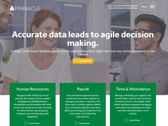 Screenshot of Pinnacle Workforce Solutions' website.