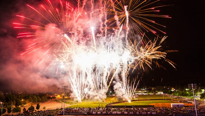 A fireworks show concludes the Utah Summer Games opening ceremonies, June 9, 2016.