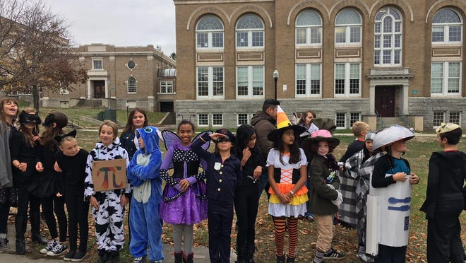 Edmunds Elementary School students line up for the Halloween parade.