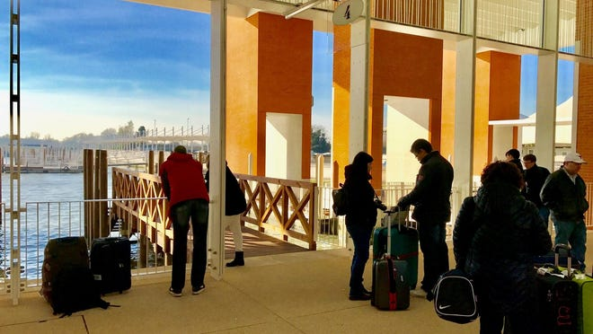 The Marco Polo Airport in Venice ferries passengers to town via water taxi docks.