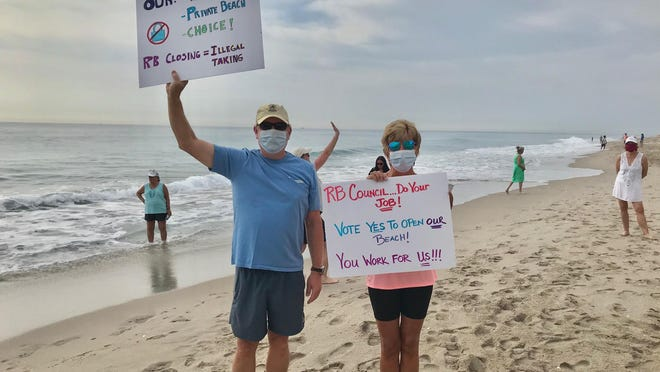 Jim and Deborah Kane demand their city put the beach back in Riviera, where officials closed off the oceanfront expanse in front of their Singer Island building because of the COVID-19 pandemic.