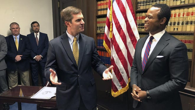 Kentucky Attorney General Daniel Cameron, right, wrote that a forced closure of religious schools by Gov. Andy Beshear, left, would violate the U.S. Constitution and state law.
