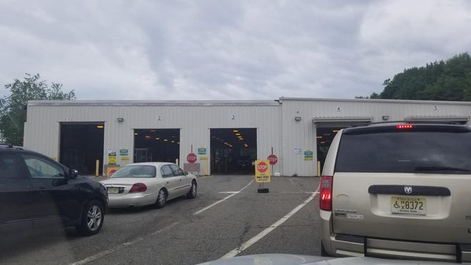 The inspection station in Randolph on Wednesday.