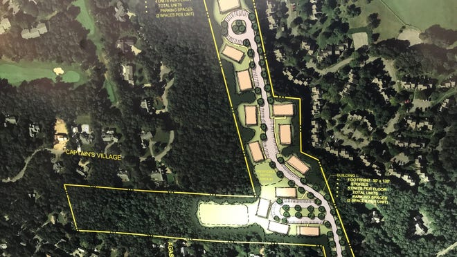A rendering of the affordable housing plan on the north end of an L-shaped property off Millstone Road, next to the Ocean Edge/Captains Village area.