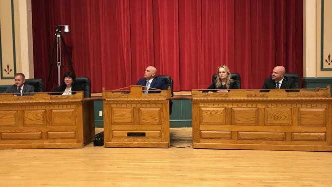 Pictured from left to right are Selectman Michael Serino, Selectmen Vice Chair Corinne Riley, Selectmen Chairman Anthony Cogliano, Selectman Debra Panetta and Selectman Jeff Cicolini.  Wicked local photo / mike gaffney