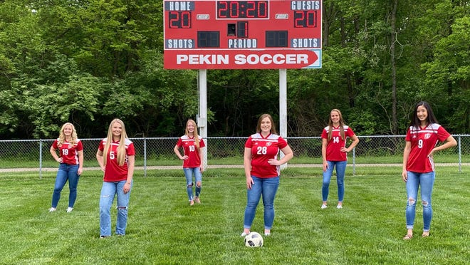 Here are the six seniors on the 2020 Pekin girls soccer team. From left are Jenna Martin, Brogan Gresham, Bree Golden, Allie Scally, Natalie Johnson and Kayla Chau.