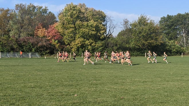 The 44th annual Runnin' Red Invitational cross country meet at Black Partridge Park in Metamora was divided into four races each for boys and girls teams over two days because of COVID-19 gathering restrictions. This is the Pekin girls team's race.