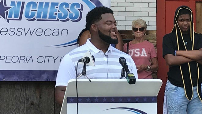 From the steps of the old Harrison School in South Peoria, Aaron Chess announced his bid for Peoria City Council, on Saturday, July 4, 2020.