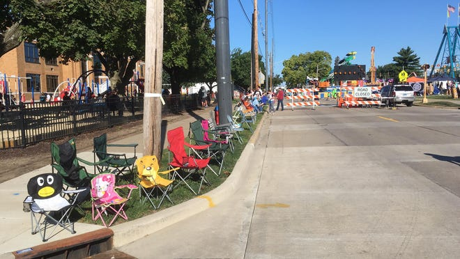 Chairs are lined up before the start of last year's Morton Pumpkin Festival parade.