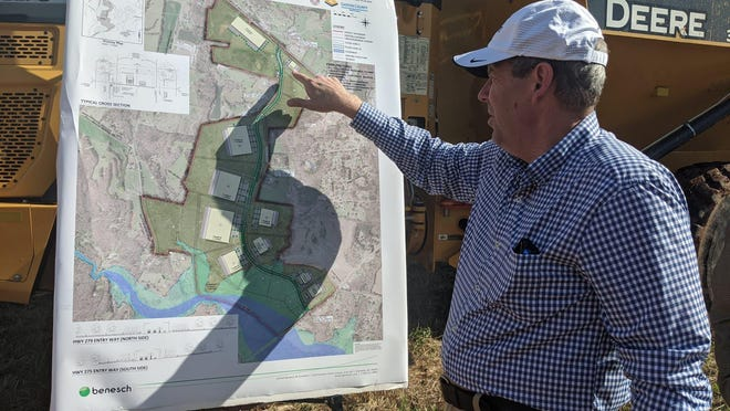 Donny Hicks, executive director of the Gaston County Economic Development Commission, talks about the companies who have committed to the new Apple Creek Corporate Park near Dallas.