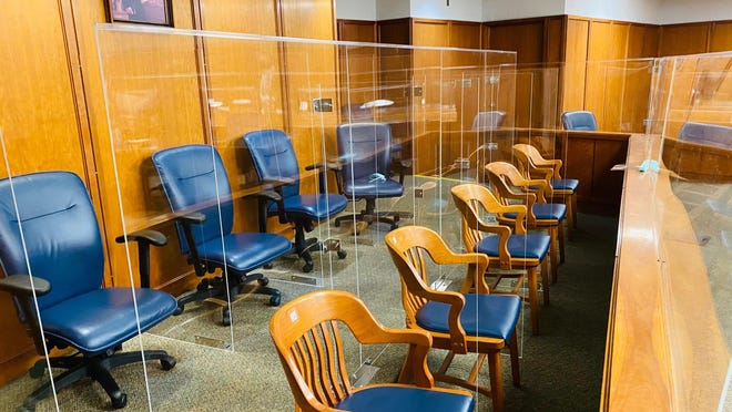 Plexiglas barriers were installed in a Wichita courtroom to address COVID-19 concerns.