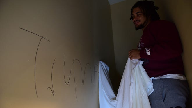 "Giants fullback Nikita Whitlock has sheets covering the word ""Trump"" in his home after a break-in Tuesday night."