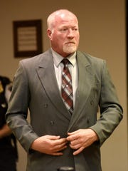 Suspended correction officer Gene Palmer, accused of inadvertently helping two killers escape from Clinton Correctional Facility in Dannemora, N.Y., waived his right to have his case heard by a grand jury and pleaded not guilty to charges Wednesday Nov. 4, 2015 in Clinton County Court in Plattsburgh, N.Y. Palmer now faces a felony charge in connection with hamburger containing hacksaw blades that he allegedly delivered to an inmate that escaped from Clinton Correctional a few days later. (Rob Fountain/Press-Republican via AP)