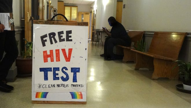 Each Wednesday, St. Paul's Episcopal Church in Fayetteville, Ark. offers HIV testing and syringe exchange. (Taylor Sisk for KHN)