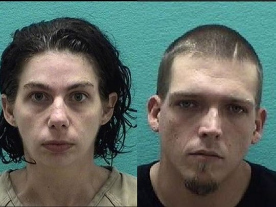 Tiffany Denlinger, left, and Skyler Fritz, right, were arrested after Denlinger's two-year-old daughter was believed to have been abused for a month.