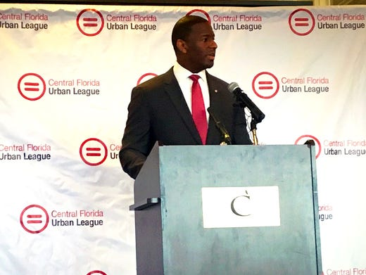 Mayor Andrew Gillum at a conference in Orlando Friday