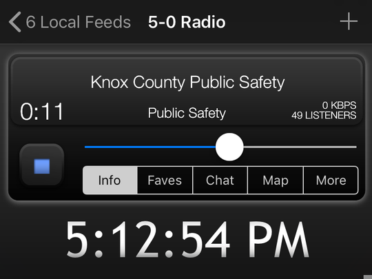 The display for 5-0 Radio, a popular cellphone police scanner app.
