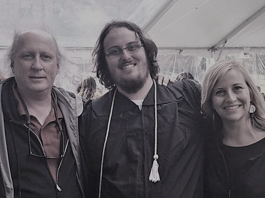 Bruce, Max and Megan Barry at Max's graduation.