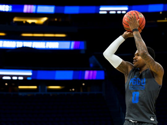Florida Gulf Coast University junior Brandon Goodwin practices for FGCU's first round game of the NCAA tournament on Wednesday, March 15, 2017 at the Amway Center in Orlando, Florida. The Eagles will face off against FSU tomorrow night at 9:20 PM.
