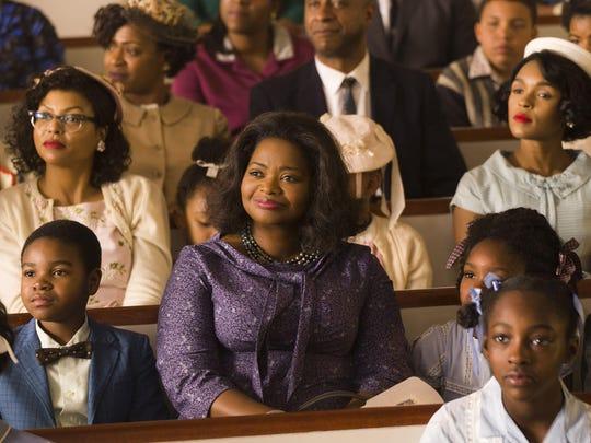 "Taraji P. Henson, left, Octavia Spencer and Janelle Monáe, right rear, star in ""Hidden Figures."""