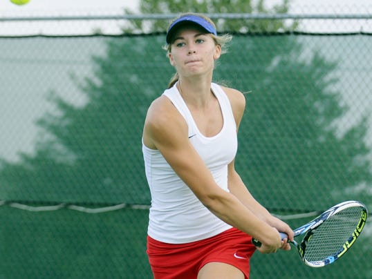 Annville Cleona's Alicia Hitz  teamed with Emma Lerchen to bring home the L-L Class AA doubles title.