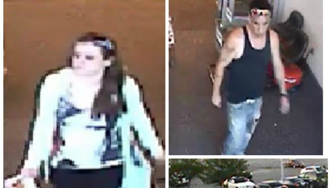 Police are seeking these two suspects in connection with an alleged credit card theft.