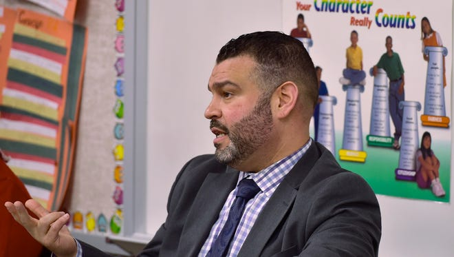 Pedro Rivera, Pa. education secretary, speaks to Greencastle-Antrim faculty on Tuesday, February 14, 2017. Sec. Rivera was in town for the Schools That Teach tour at Greencastle-Antrim Elementary School.