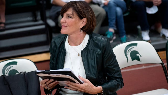 Michigan State women's volleyball coach Cathy George looks on before the Spartans' match against Michigan on Wednesday, Oct. 18, 2017, at the Jenison Field House in East Lansing.