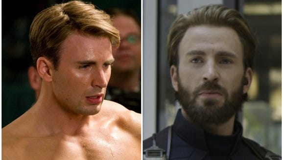 "Left: Captain America (Chris Evans) in 2011's ""Captain"