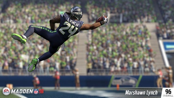 Seattle Seahawks RB Marshawn Lynch in a scene from 'Madden NFL 16.'